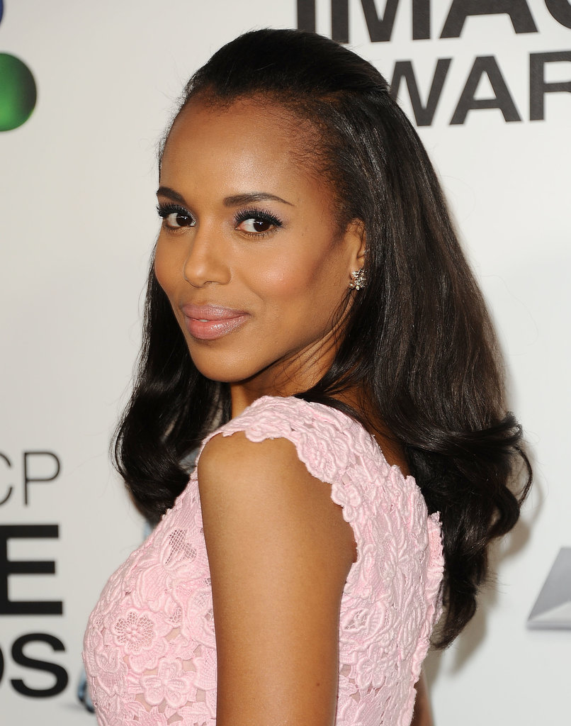 One of Kerry's signature styles is this half-up hairdo, a style she wore at the NAACP Awards.