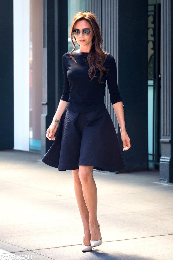 Victoria Beckham wore a black frock.
