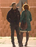 Ryan Gosling talked with Christina Hendricks on the set.