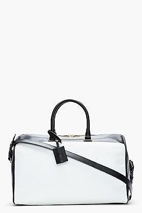 SAINT LAURENT Black & White Leather Bo Duffle Bag