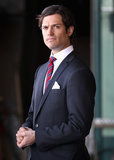 Prince Carl Philip looked handsome while waiting to greet Prince Charles and Camilla, Duchess of Cornwall in March 2012.