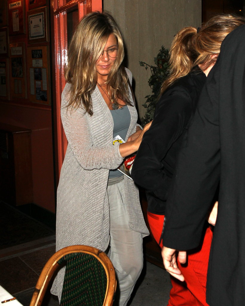 Jennifer Aniston wore geek-chic glasses.