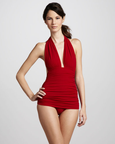 Norma Kamali Bill Ruched Halter One-Piece Swimsuit, Red