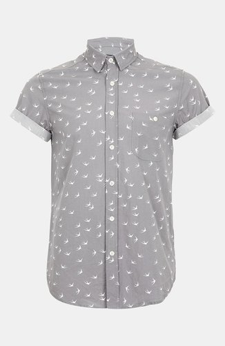 Topman 'High Roller' Swallow Print Shirt