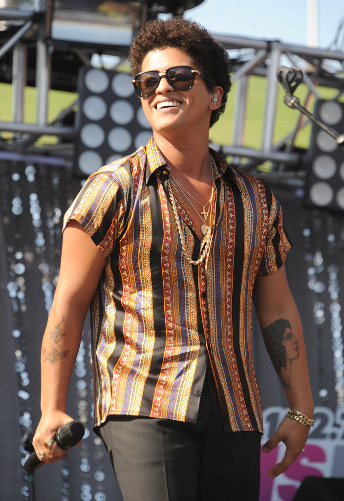 Bruno Mars rocked a retro look.