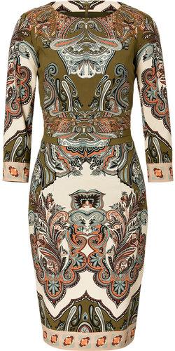 Etro Olive Green/Ecru-Multi Wool Dress