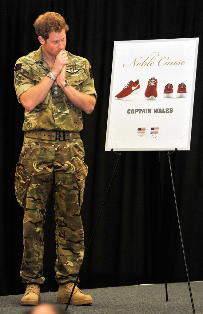 """On Saturday, Prince Harry was presented with his own """"Captain Wales"""" Nike sneakers in Colorado Springs, CO."""