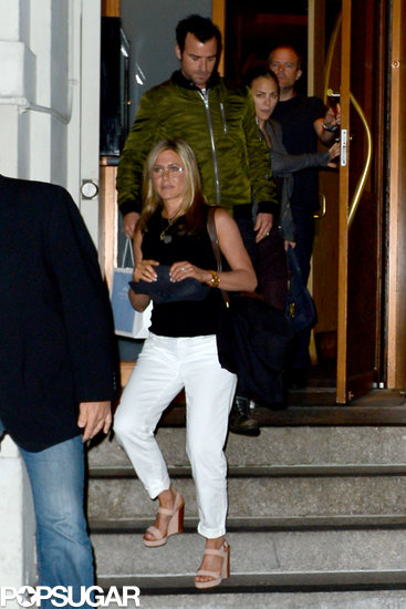 Jennifer Aniston and Justin Theroux exited Nobu.