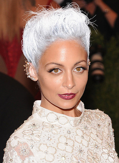 Nicole Richie's silver hair and bronzed skin