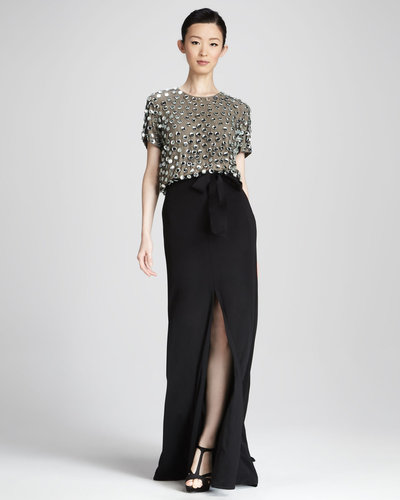 Naeem Khan Sequined Combo Gown