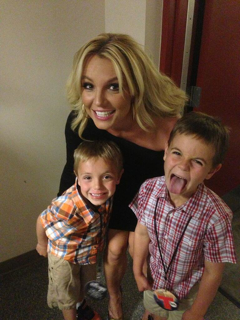 Britney Spears shared a silly snap of herself with her two boys over Mother's Day weekend. Source: Twitter user britneyspears