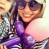 Miranda Kerr spent Mother's Day making balloon animals with Flynn. Source: Instagram user mirandakerr