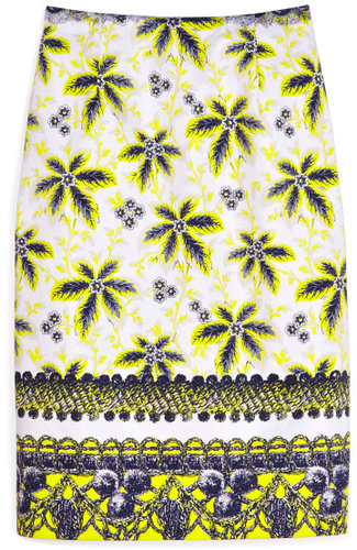 Prabal Gurung Acid Yellow Flower Damiana Skirt