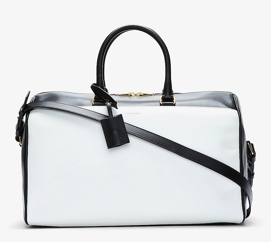 We can't think of more polished way to carry your clothes than in this Saint Laurent black-and-white leather duffel bag ($2,650).