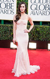 Megan Foxy wore a skintight strapless gown to hit the red carpet at the Golden Globes in January.