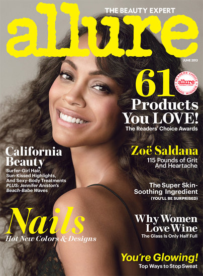 Zoe Saldana covers the June 2013 issue of Allure. Source: Tom Munro for Allure