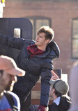 Andrew Garfield hung out on the set for The Amazing Spider-Man 2.
