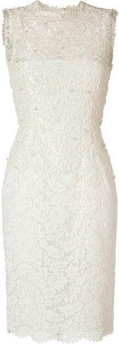 Valentino Beaded Ivory Cotton Lace Dress