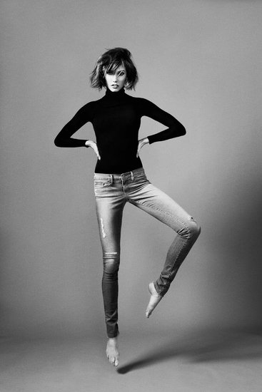 Your first look at the Forever Karlie Skinny ($209) style. These black-and-white campaign images were shot by her friend and co-collaborator, Erik Torstensson.  Source: Facebook user Karlie Kloss