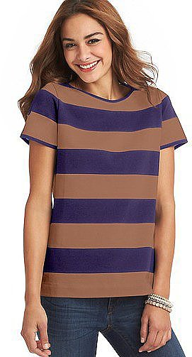 Classic rugby stripes punctuate this lightweight Loft Striped Zip-Back Tee ($35).