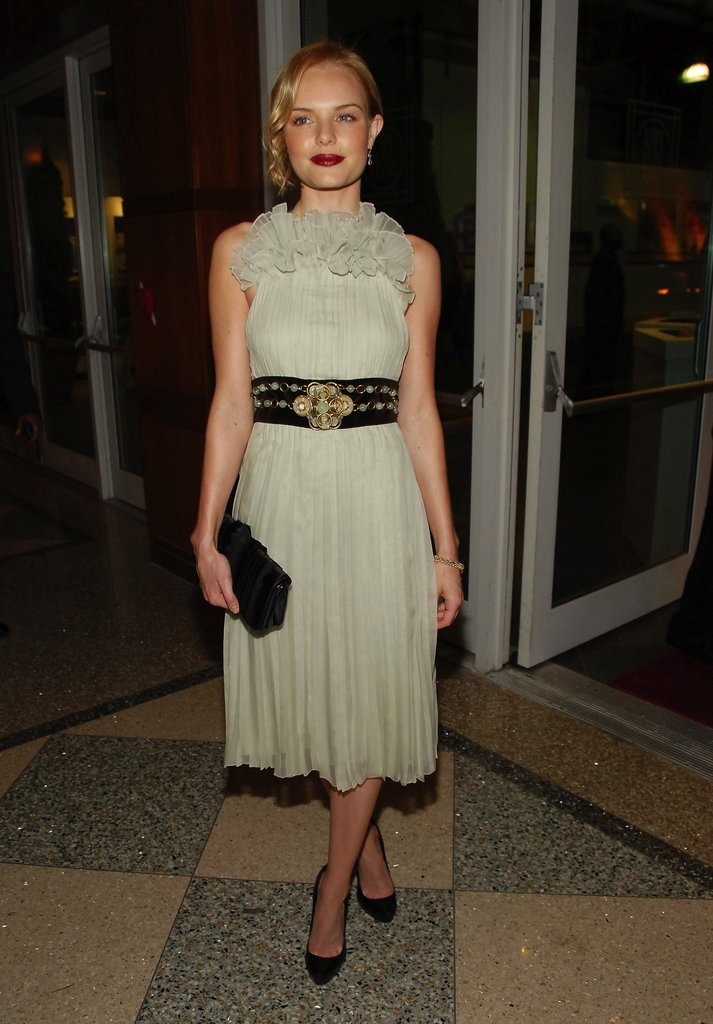 Kate's 2007 Can Do Awards Chloé dress was all about the details. From the ruffled neck to the embellished belt to the soft ladylike pleats, we give this late-night look high honors.