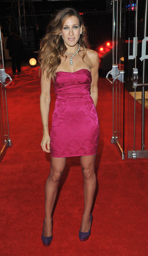 Sarah Jessica Parker took pink and purple from girlie to glam in a strapless L'Wren Scott number and fabulously fun Charlotte Olympia pumps at the Did You Hear About the Morgans? London premiere in 2009.