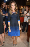 Parker wore a knit blue ombré dress and sparkling pointed pumps for Fashion's Night Out in 2012.