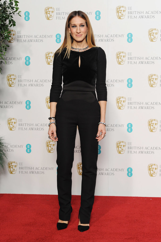 At the 2013 BAFTAs, Parker suited up in a black Elie Saab jumpsuit with a subtle keyhole and Jean-Michel Cazabat pumps.
