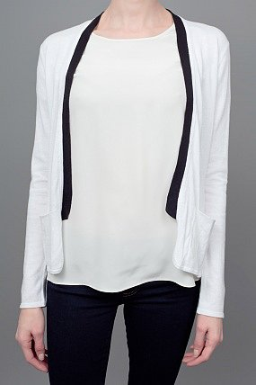 Elizabeth and James Tuxedo Open Cardigan Sweater White and Black