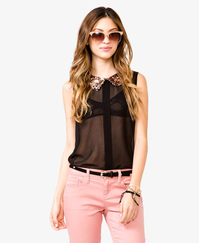 FOREVER 21 Sequined Peter Pan Collar Shirt