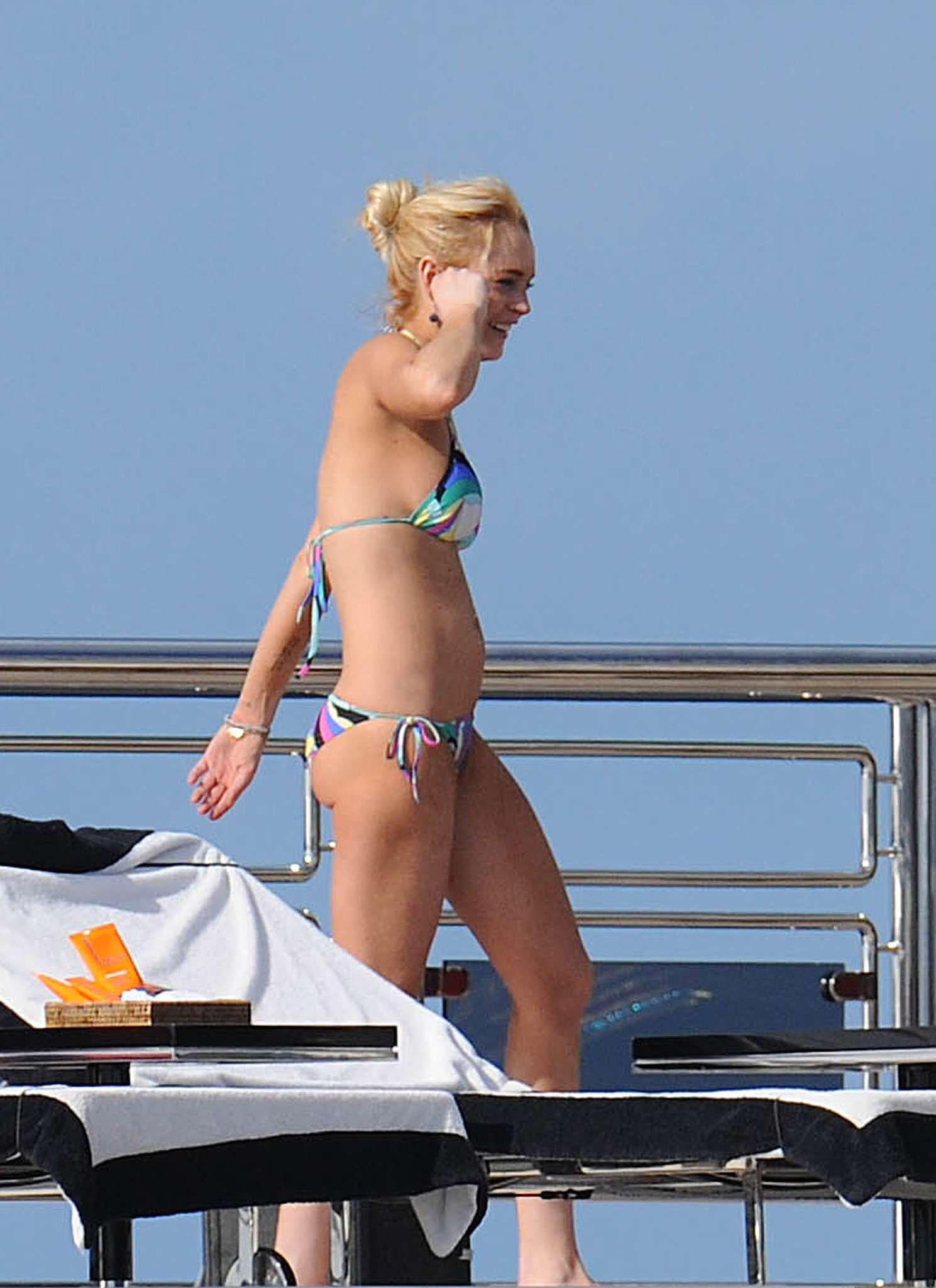 Lindsay Lohan lounged on a yacht while in St. Barts in 2010.