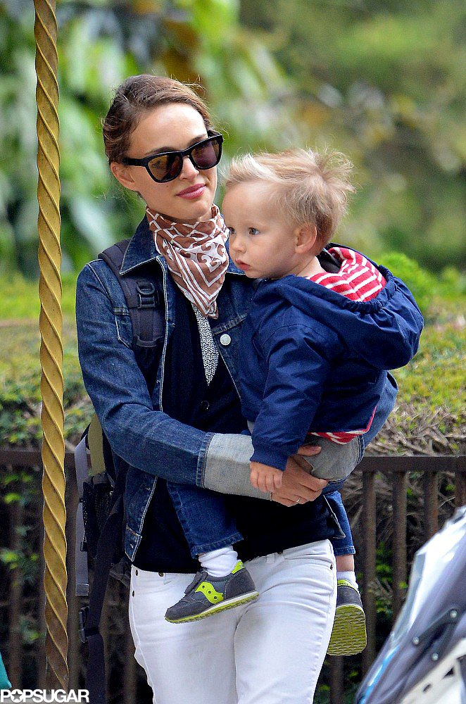 Natalie Portman spent the afternoon with her son, Aleph, in Paris.