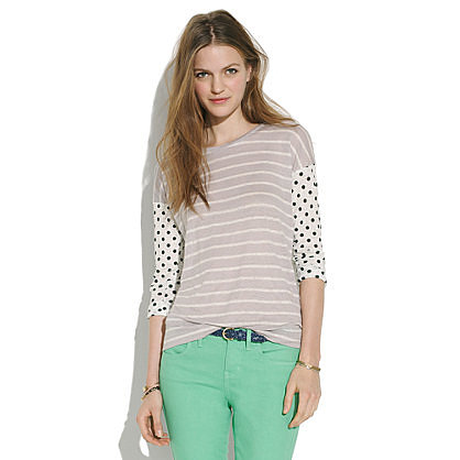 We're addicted to Madewell's soft, broken-in tees, and this Easy Tee in Dots & Stripes ($50) is in the running for best mixed-print tee ever.