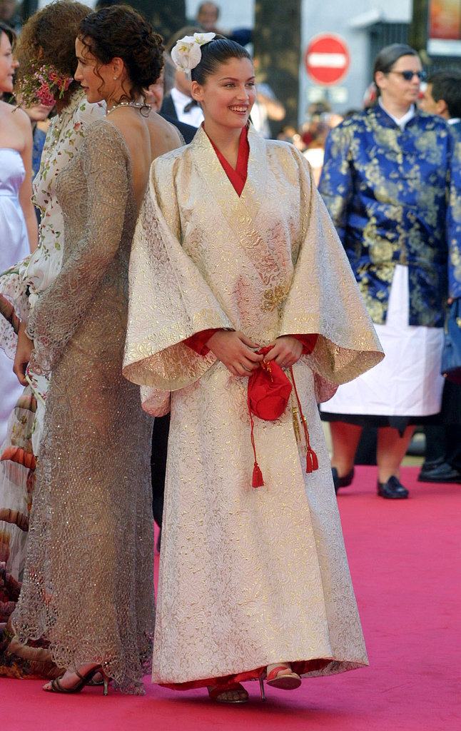 Laetitia Casta made headlines by wearing this silk kimono on the Cannes red carpet in 2001.