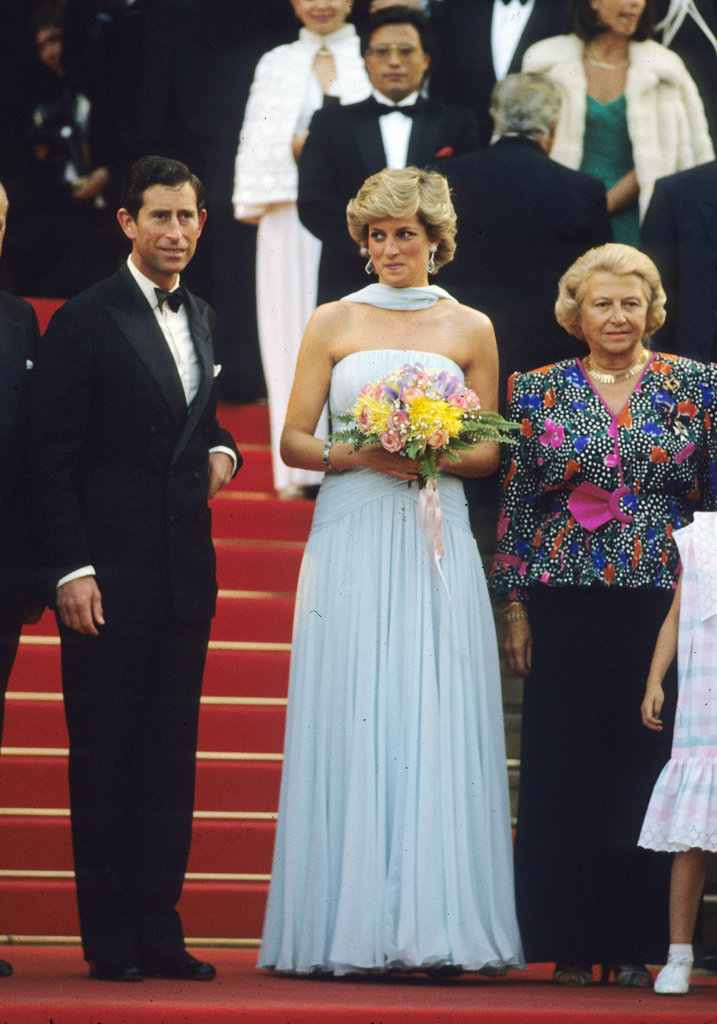 Princess Diana chose a simple blue chiffon dress by Catherine Walker for the festival in 1987. It was reportedly meant as an homage to a gown Princess Grace of Monaco wore in Alfred Hitchcock's To Catch a Thief.