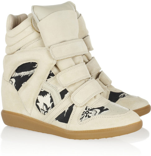 Isabel Marant The Bekett printed canvas and suede wedge sneakers