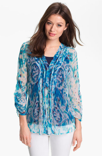 Casual Studio Pleat Front Sheer Print Blouse