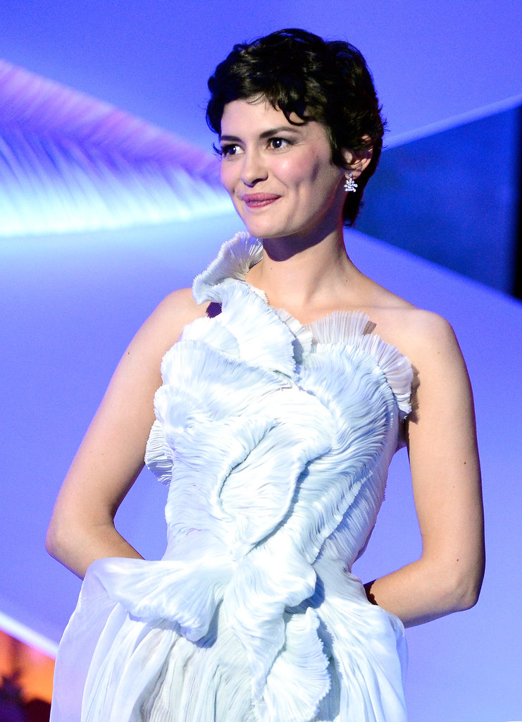 As the Cannes mistress of ceremonies, Audrey Tautou wore her short pixie tightly curled; rosy cheeks and lips lent an element of sweetness to her style.