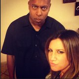 Ashley Tisdale and her bodyguard showed off their stink eyes. Source: Instagram user ashleytis