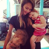 Jessica Alba snuggled with her daughters, Honor and Haven. Source: Instagram user jessicaalba