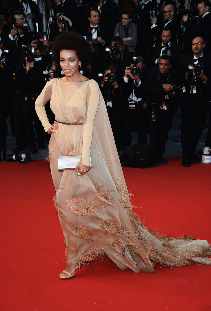 Solange Knowles looked exquisite in a long-sleeved nude Stephane Rolland gown with feathers and a dramatic train. Chopard jewels and a silver metallic Jimmy Choo clutch added major glitz.