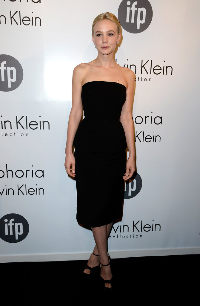 Carey Mulligan wore Calvin Klein Collection and Brian Atwood heels for the Calvin Klein-hosted Women in Film party in Cannes.