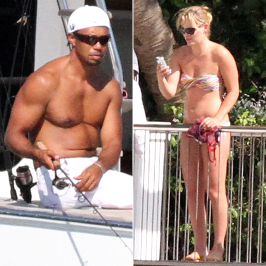 Shirtless Tiger Woods Hits the Water With Bikini-Clad Lindsey and His Kids
