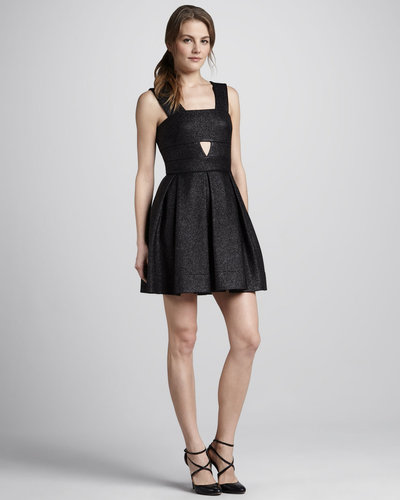 Robert Rodriguez Box-Pleat Cutout Dress