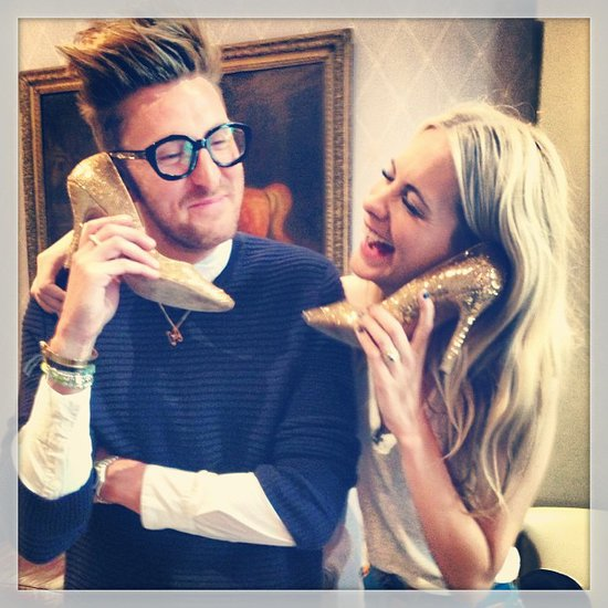 Poppy Delevingne and Henry Holland rang each other up with sparkly shoes. Source: Instagram user poppydelevingne