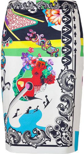 Versace Multicolored Cotton Stretch RocknRoll Printed Pencil Skirt