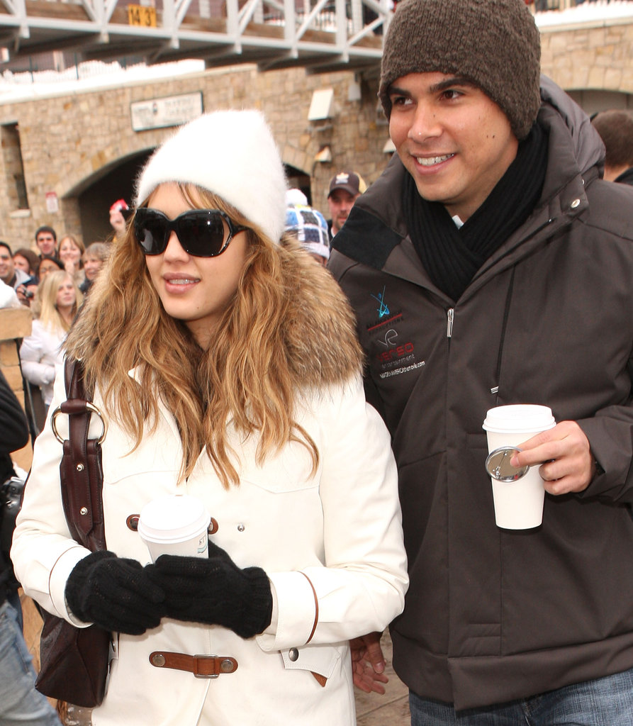 Jessica Alba and Cash Warren bundled up together during the 2008 Sundance Film Festival in Park City, UT.