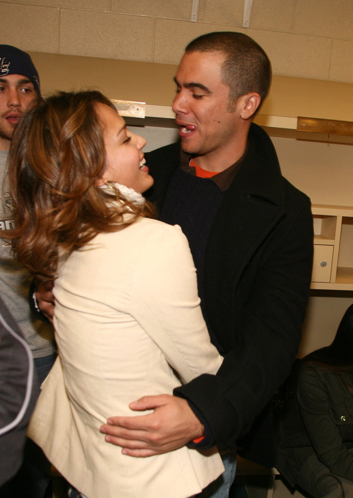 Cash Warren made Jessica Alba laugh at a Super Bowl party in Detroit in February 2006.