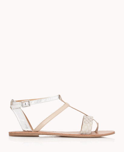 FOREVER 21 Metallic Colorblocked Gladiator Sandals