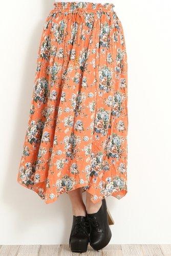 [エージープラス]花柄ロングスカート